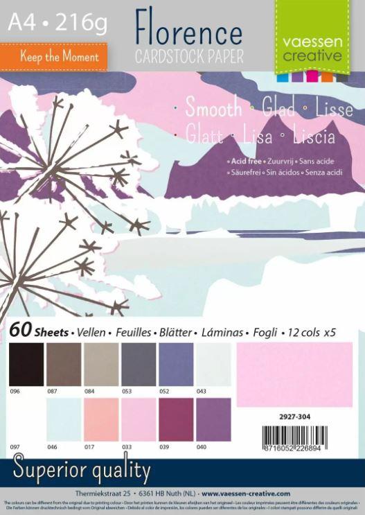 Pack de 60 planches de papier lisse 216g/m2 - A4 - assortiment coloris Hiver