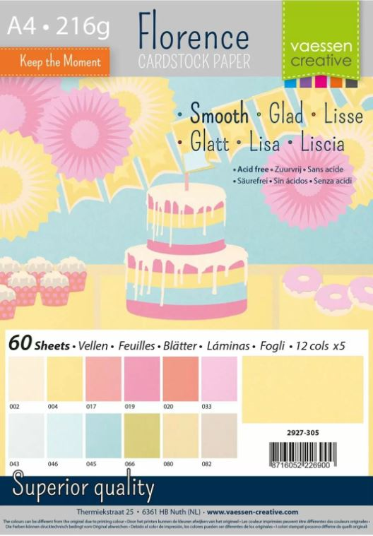 Pack de 60 planches de papier lisse 216g/m2 - A4 - assortiment coloris tons pastels