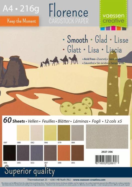Pack de 60 planches de papier lisse 216g/m2 - A4 - assortiment Tons de terre