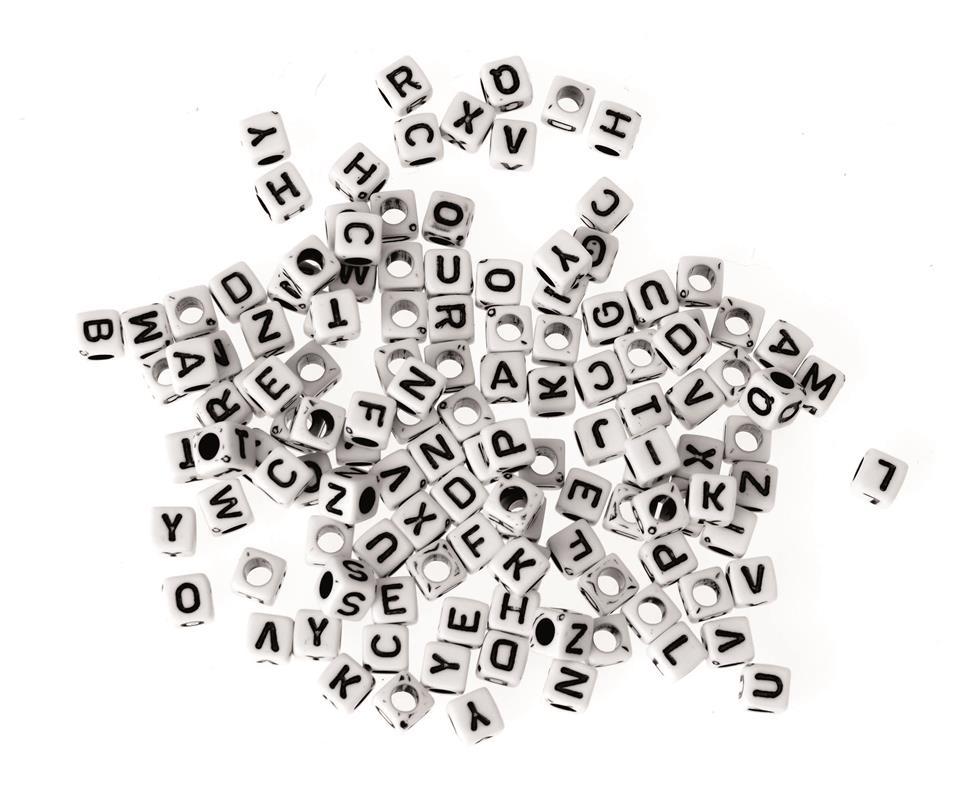 Perles cubes 5 mm Alphabet - sachet de 50 g (env. 150 pièces)