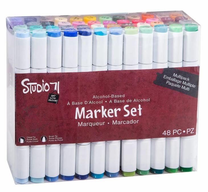 Lot de 48 feutres à alcool - deux pointes - coloris assortis