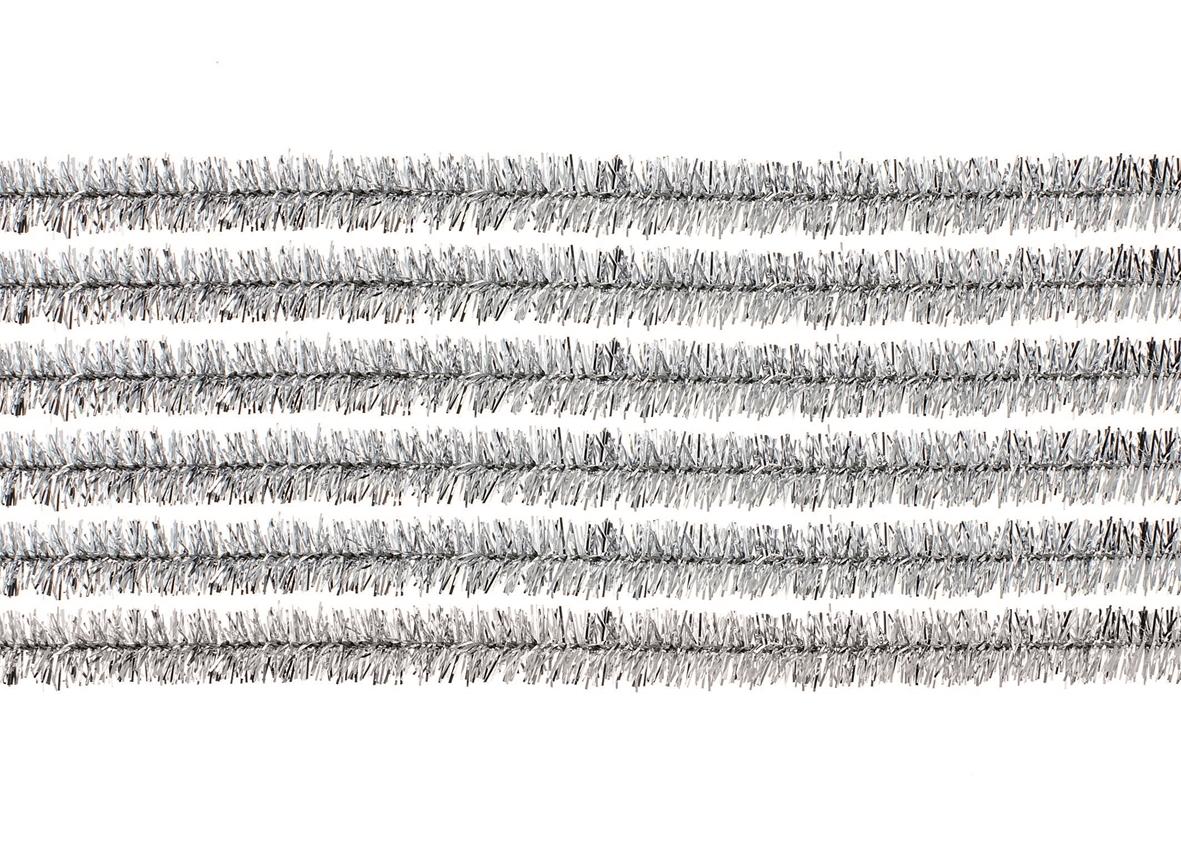 10 fils chenille 50 cms diamètre environ 1 cm - coloris argent