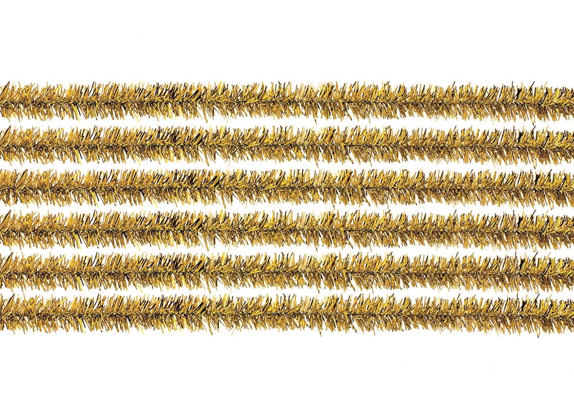 10 fils chenille 50 cms diamètre environ 1 cm - coloris or