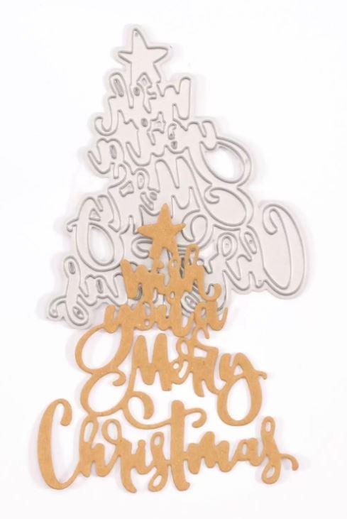 Matrice de découpe forme sapin  Wish you a Merry Christmas