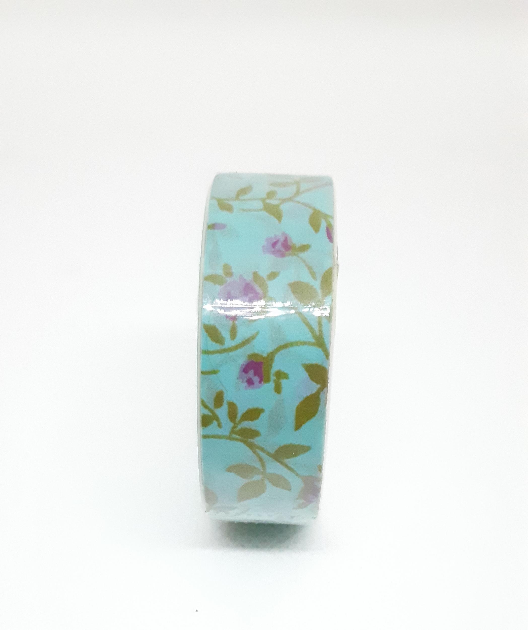 Adhésif de masquage en papier de riz - Roses sur fond bleu