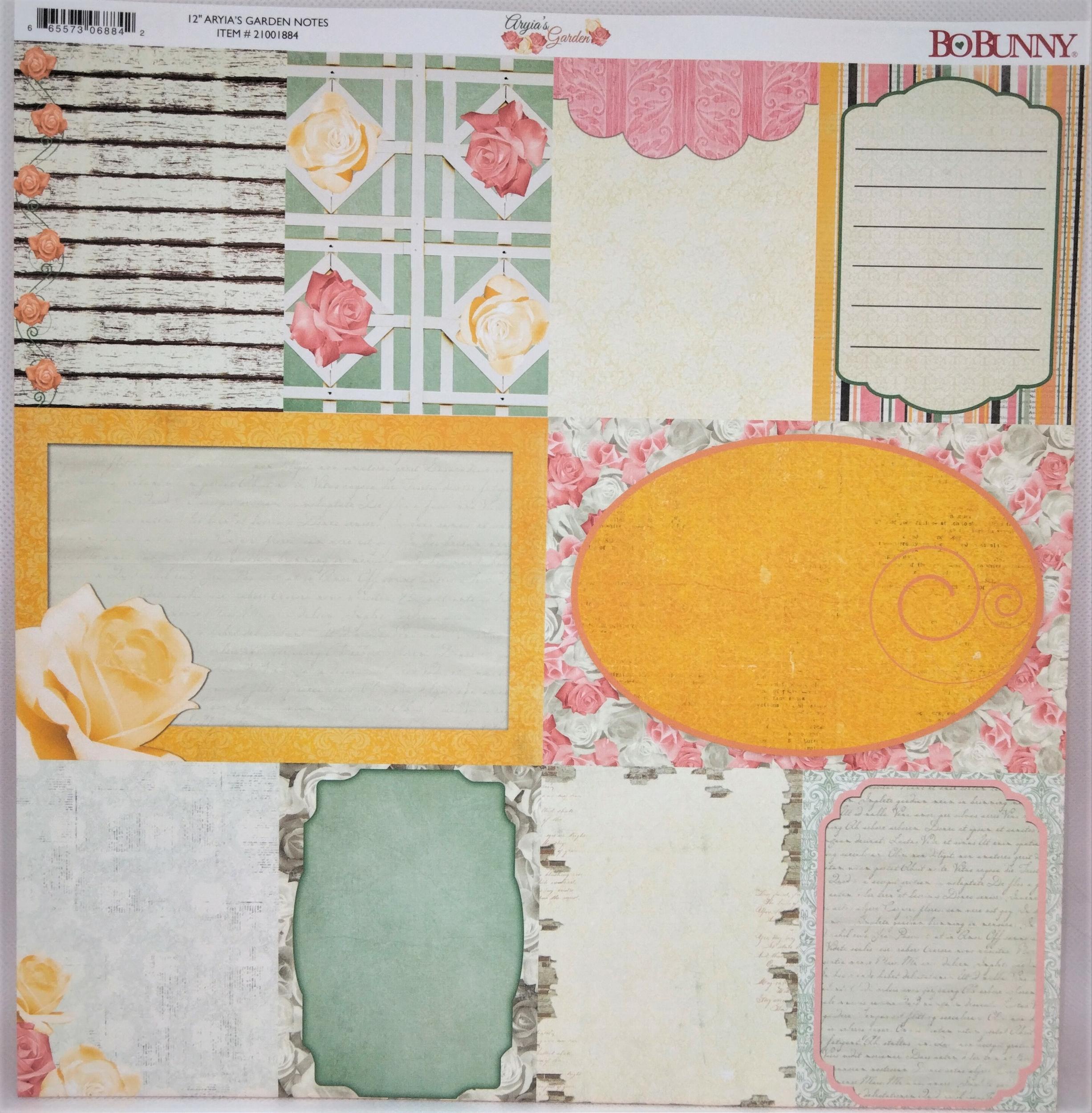 Planche double face 30.5 x 30.5 cms -160 g/m2 - Collection Aryia\'s Garden - Notes