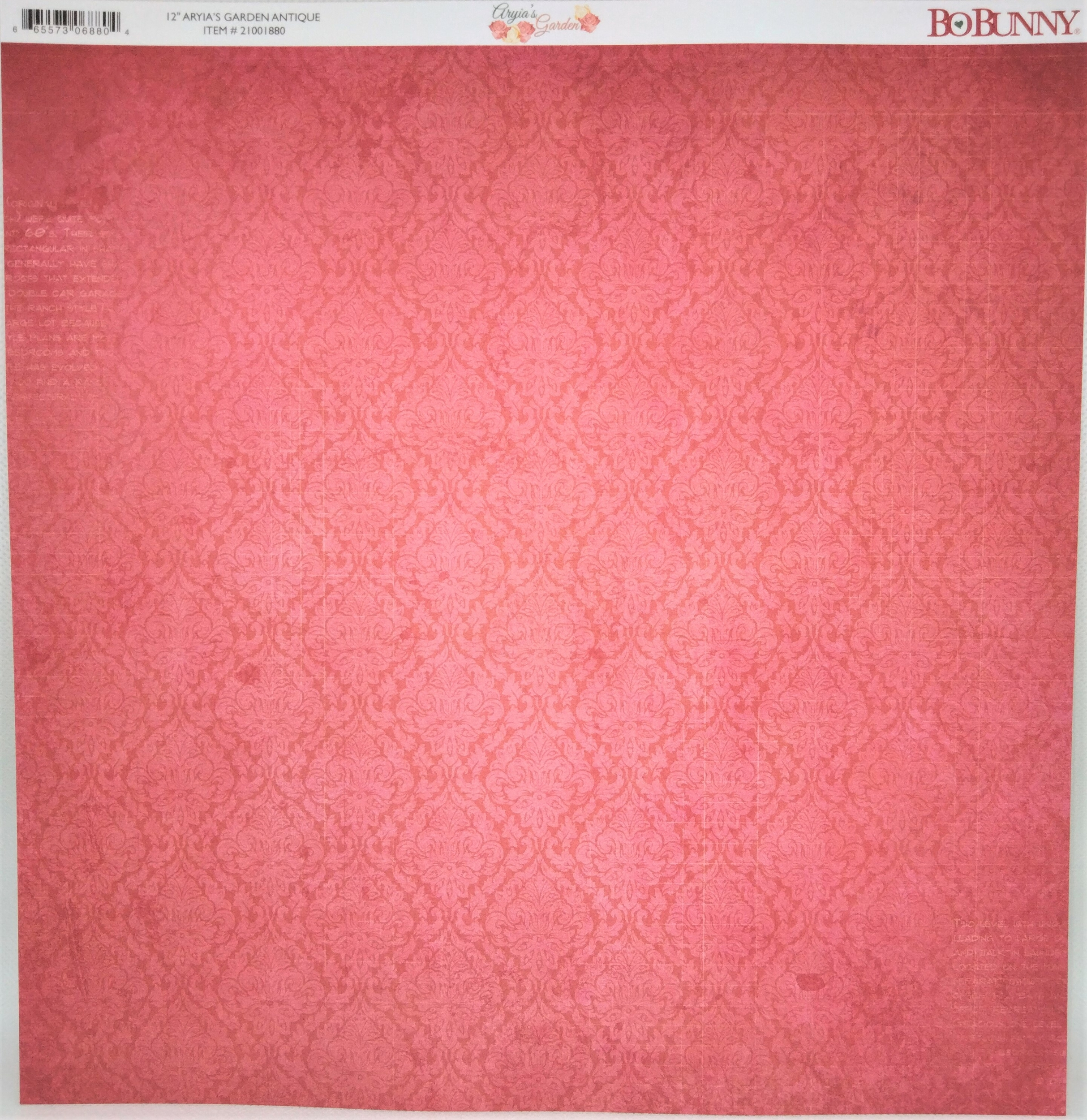 Planche double face 30.5 x 30.5 cms -160 g/m2 - Collection Aryia\'s Garden - Antique