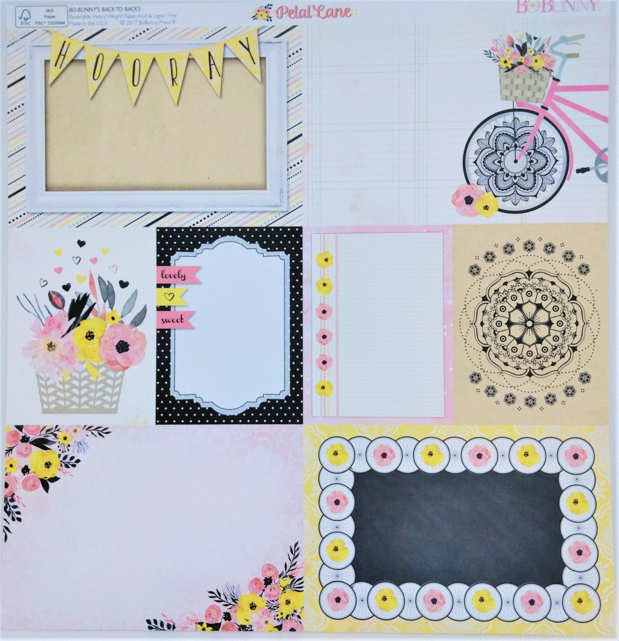 Planche double face 30.5 x 30.5 cms -160 g/m2 - Collection Petal Lane - Love Notes