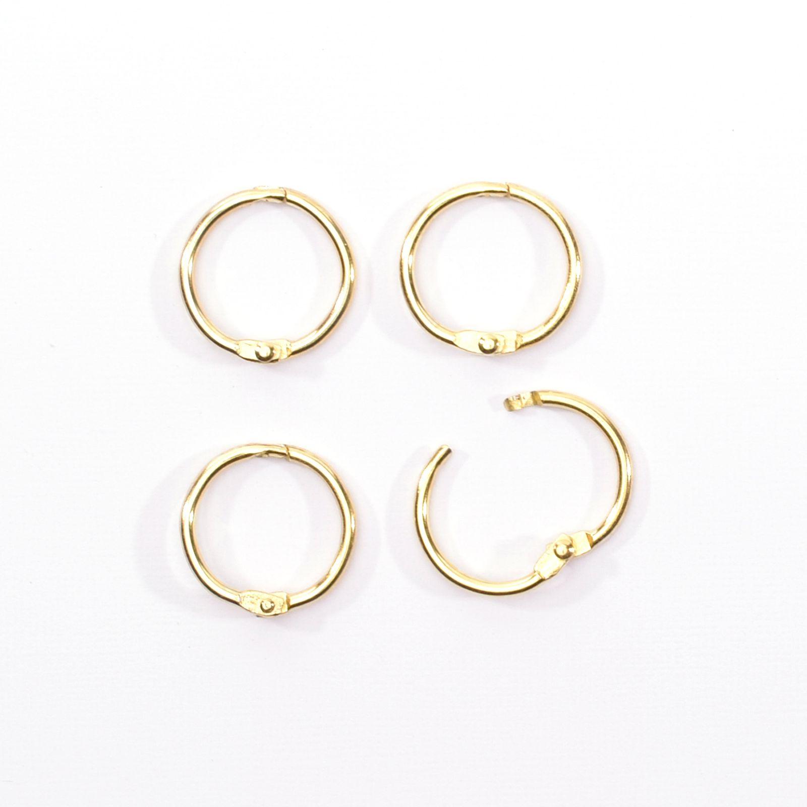 Lot de 4 anneaux de reliure - coloris or - diamètre 20 mms