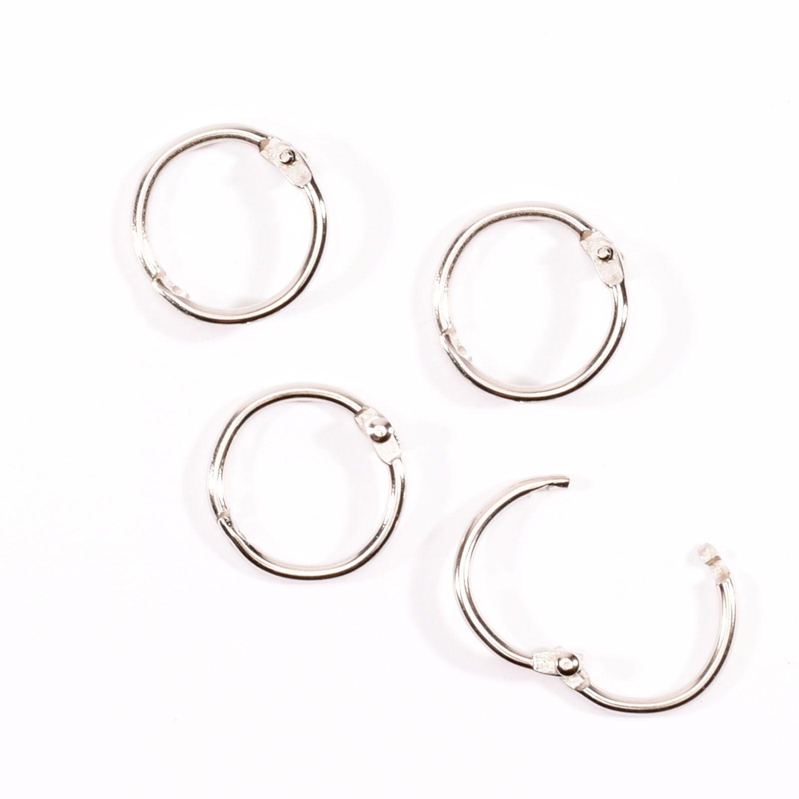 Lot de 4 anneaux de reliure - coloris argent - diamètre 25 mms