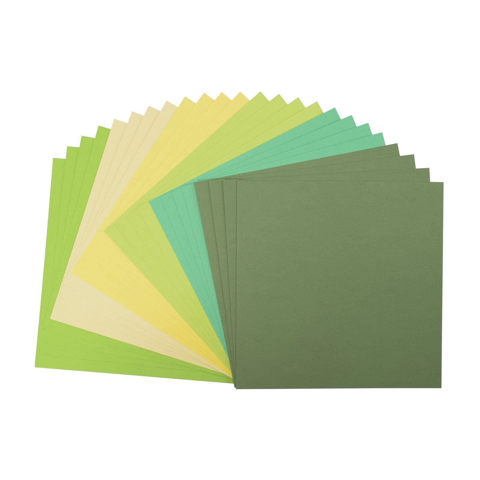 Pack de 24 planches de papier texturé 216 g/m2 - 30.5x30.5 cms - assortiment de verts