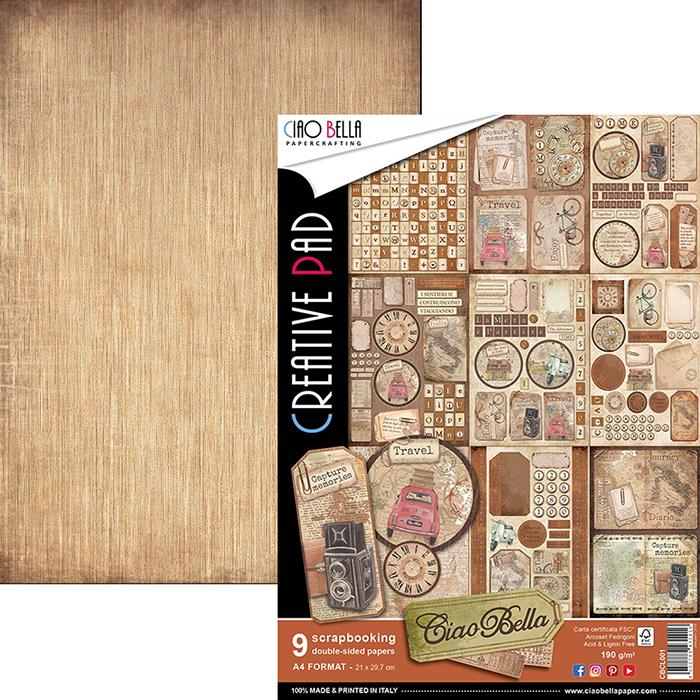 Lot de 9 feuilles de papier à motifs imprimées recto-verso A4