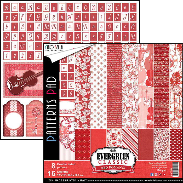 Lot de 8 planches de papier à motifs imprimées recto-verso - 30.5 x 30.5 cms