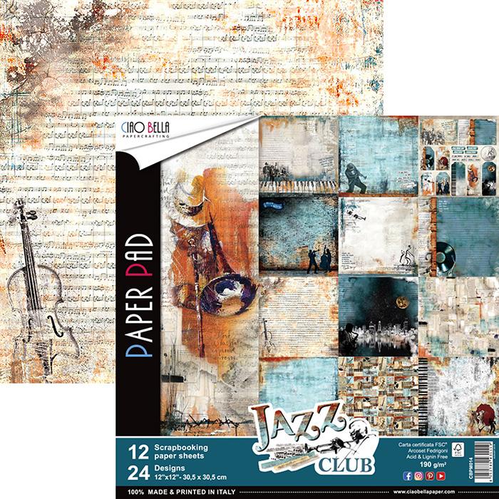 Lot de 12 planches de papiers à motifs imprimées recto-verso - 30.5 x 30.5 cms