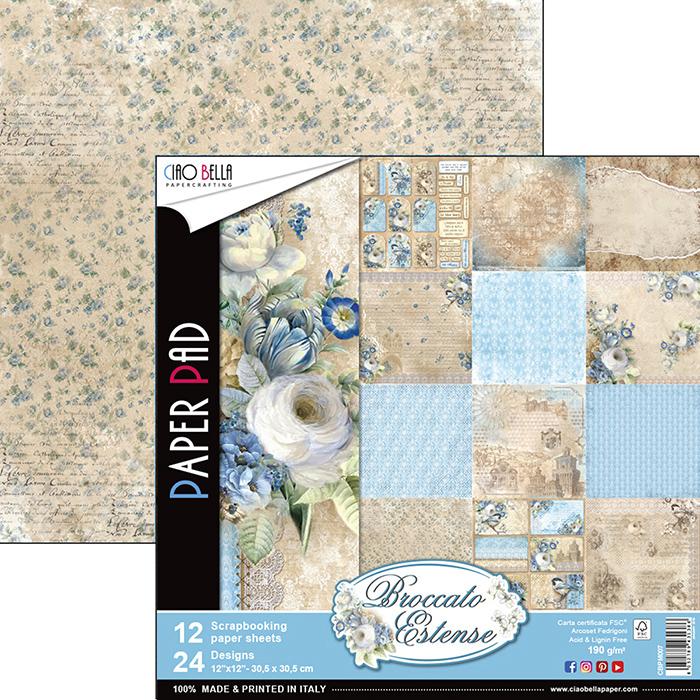 Lot de 12 planches à motifs imprimées recto-verso - 30.5 x 30.5 cms
