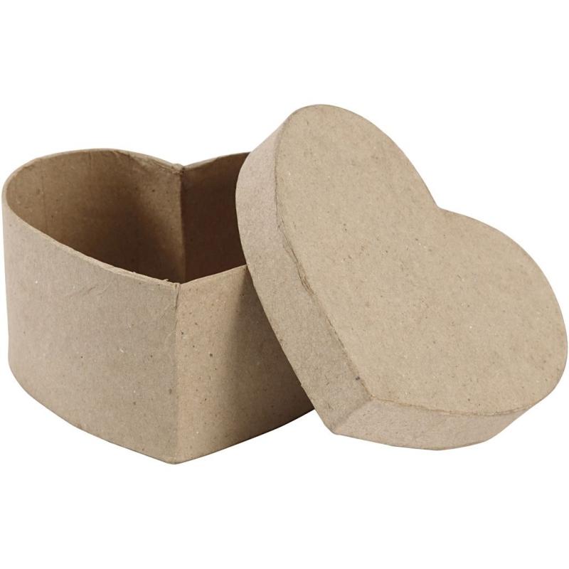 Boîte coeur en papier mâché à décorer - 14 x 14 x 8 cms