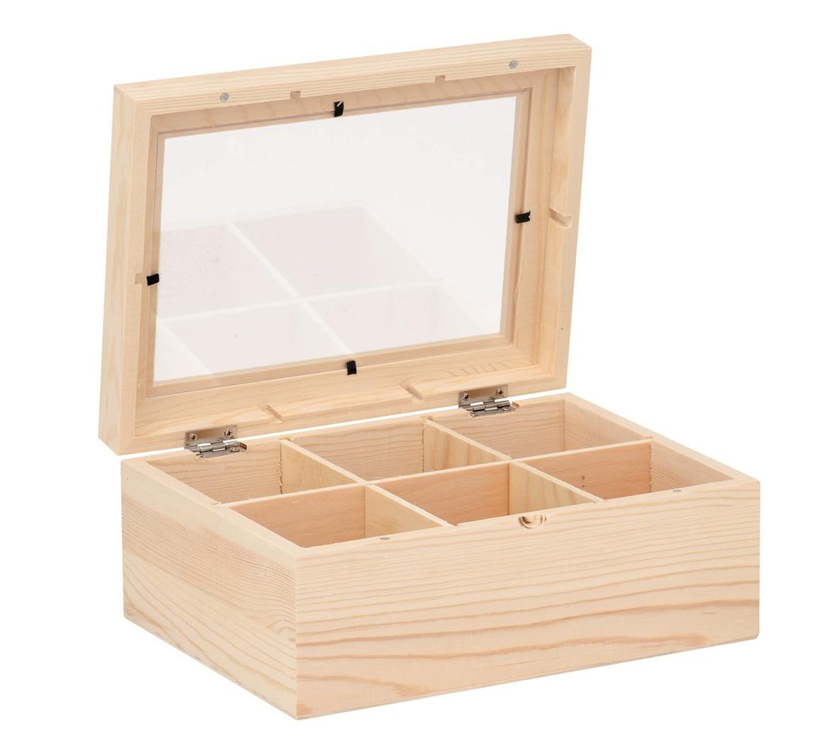 Boîte à thé en bois brut - 22 x 16 x 9 cms
