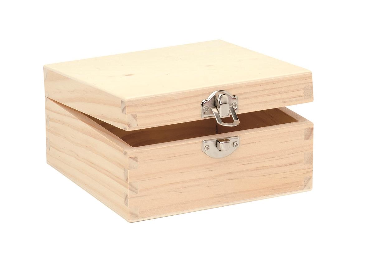 Boîte en bois carrée à décorer - 13 x 13 x 7 cms