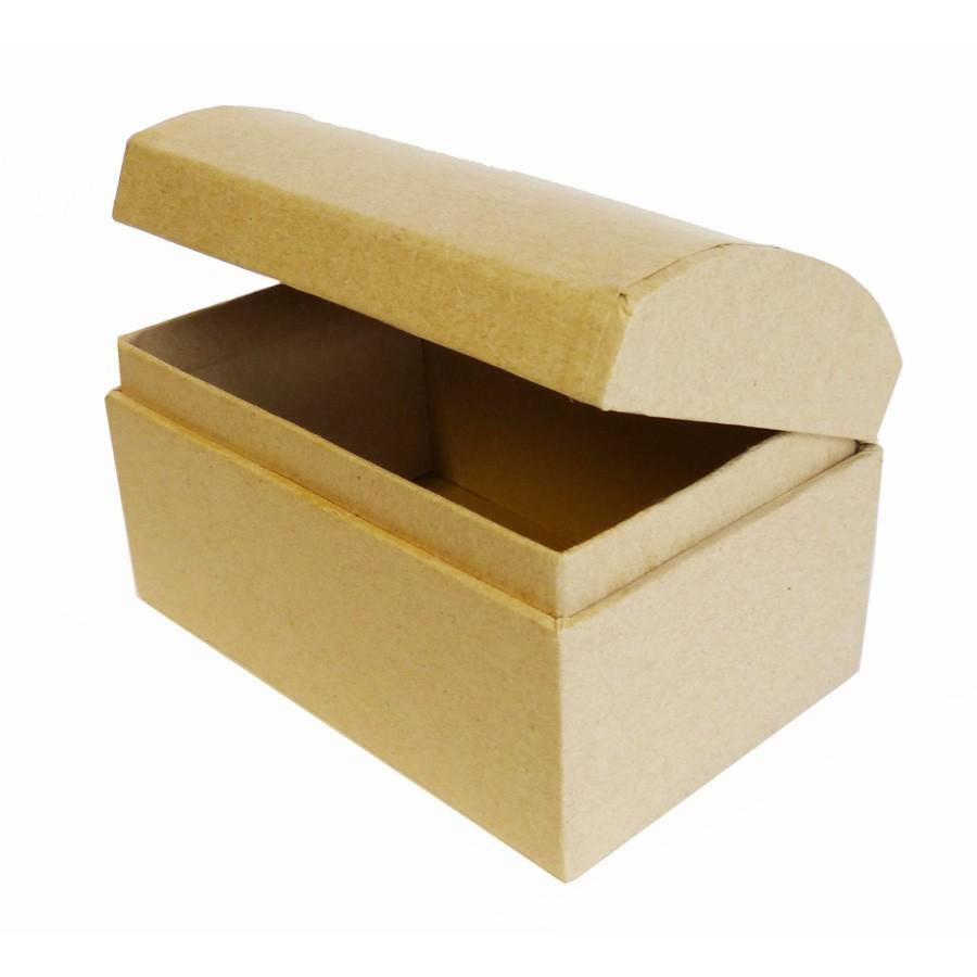 Boîte coffre en papier mâché à décorer - 15 x 10 x 11 cms
