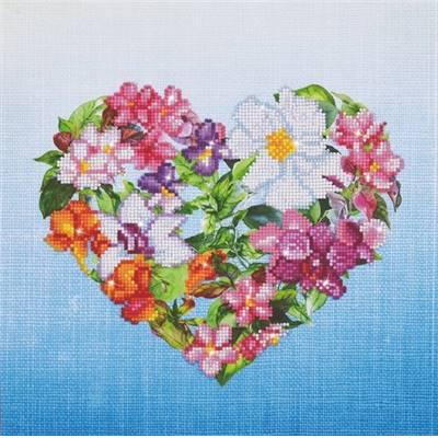 Broderie Diamants - Coeur de Fleurs - Toile à recouvrir partiellement - Niveau Intermédiaire
