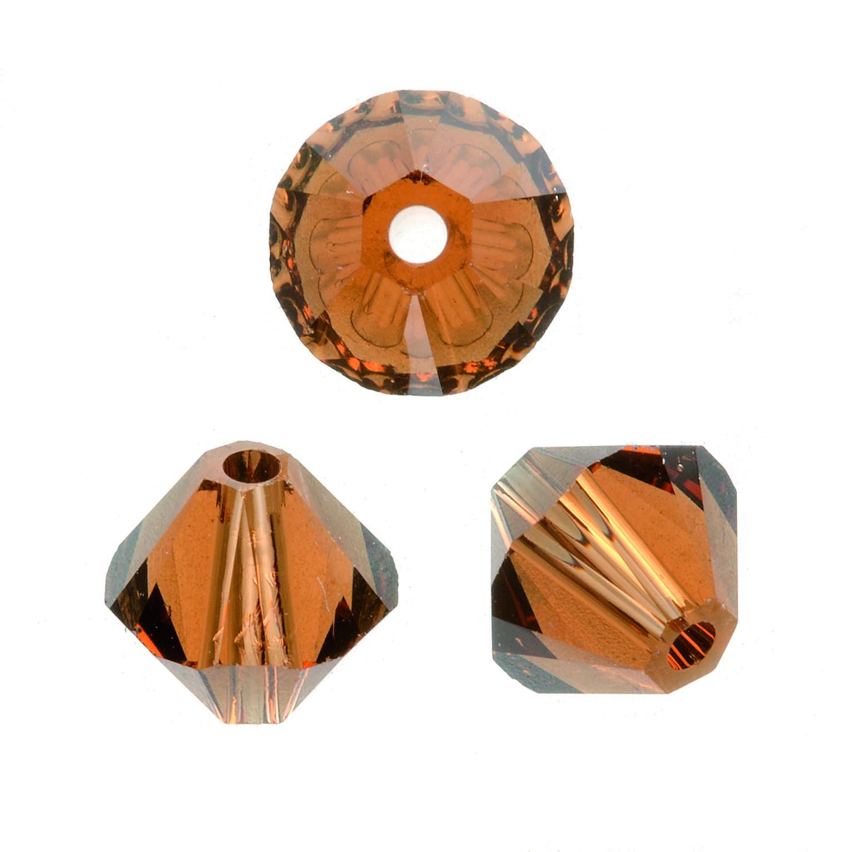 Perles Swarovski 4 mm Topaze foncé - Boîte de 25