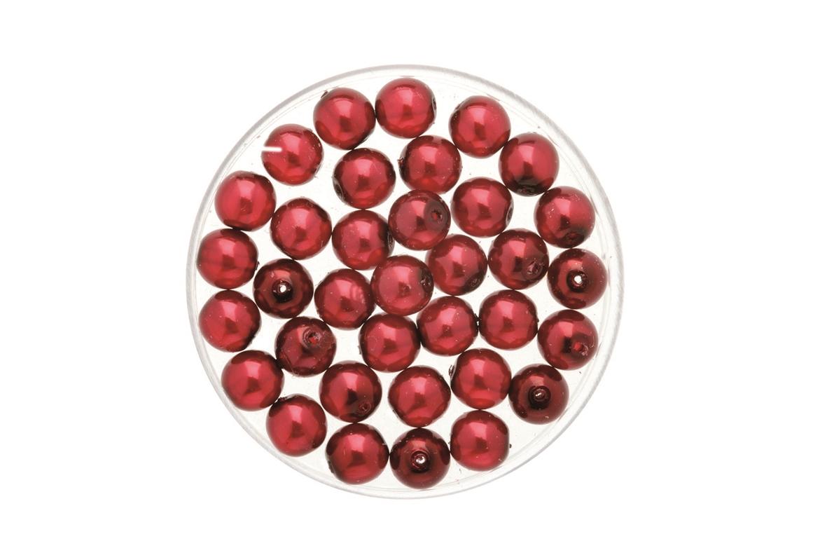 Perles de verre cirées Bohème 4 mm - Boîte de 75 - Rouge