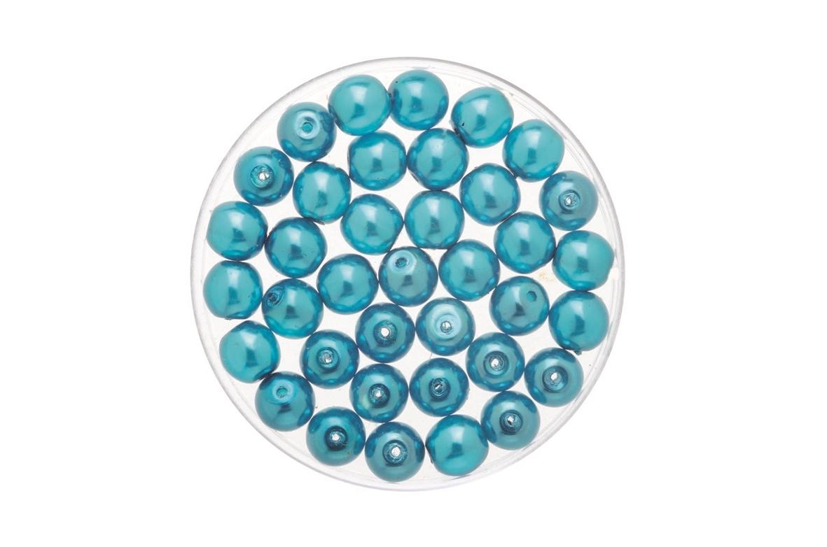 Perles de verre cirées Bohème 4 mm - Boîte de 75 - turquoise