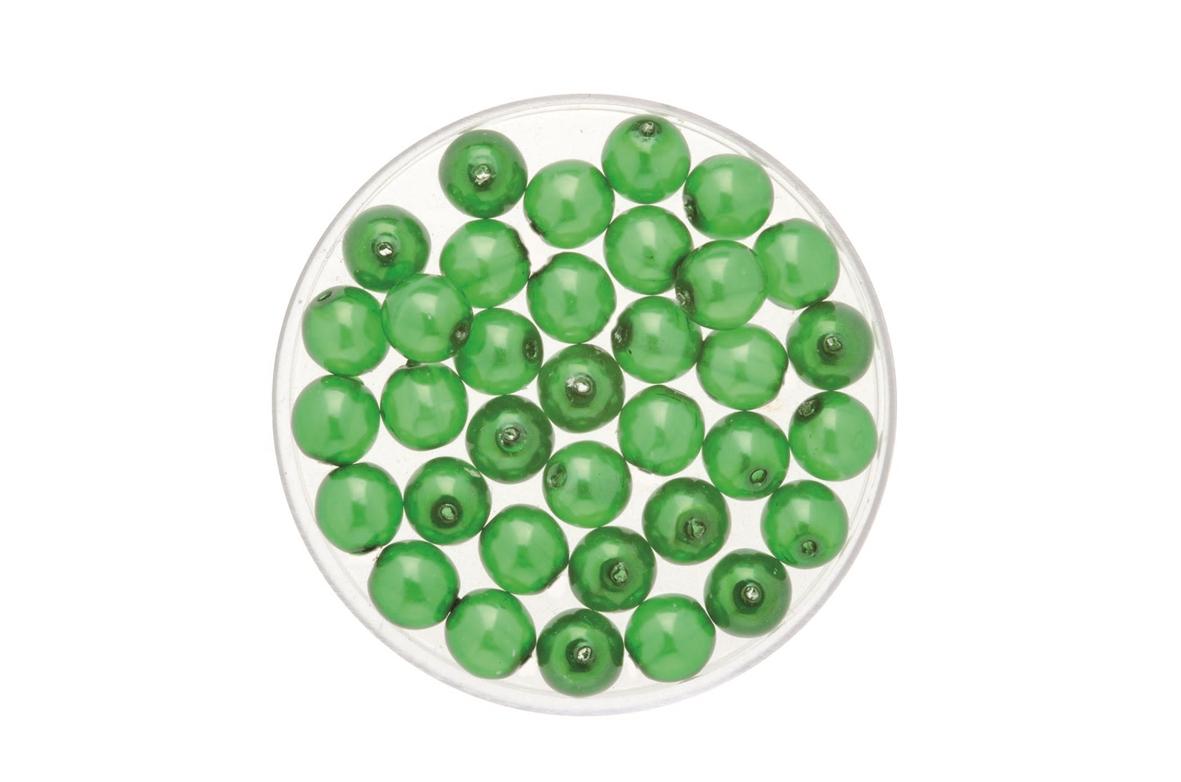 Perles de verre cirées Bohème 4 mm - Boîte de 75 - vert