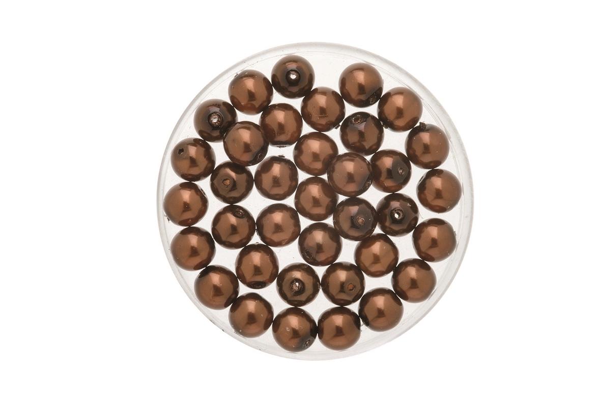 Perles de verre cirées Bohème 4 mm - Boîte de 75 - Topaze foncé
