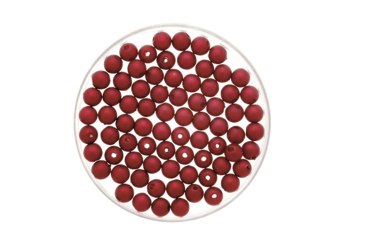 Perles aspect mat 4 mm - 90 pièces - coloris rouge