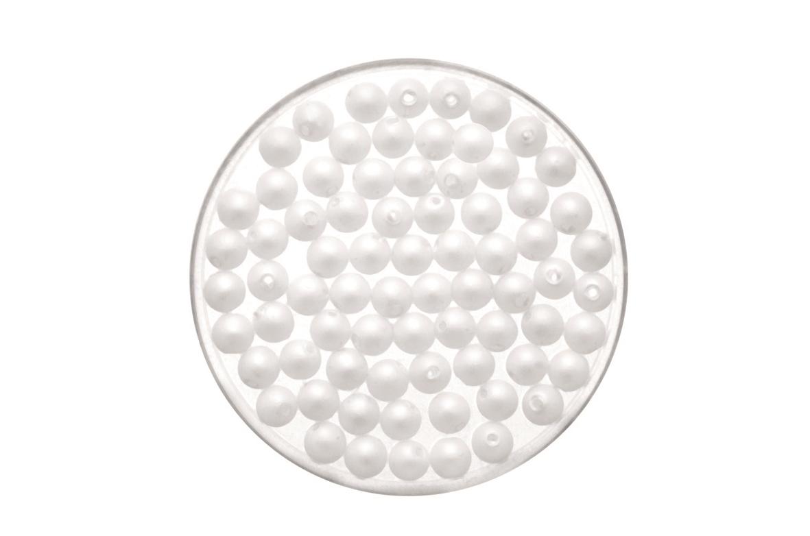 Perles aspect mat 4 mm - 90 pièces - coloris blanc