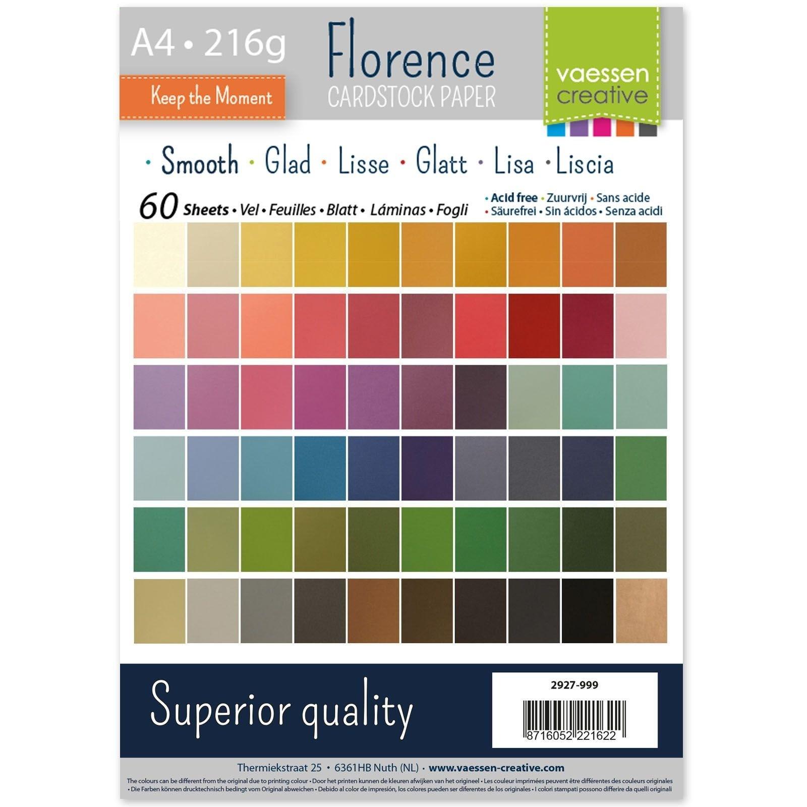 Lot de 60 feuilles de papier lisse A4 - 216 g - 60 coloris assortis