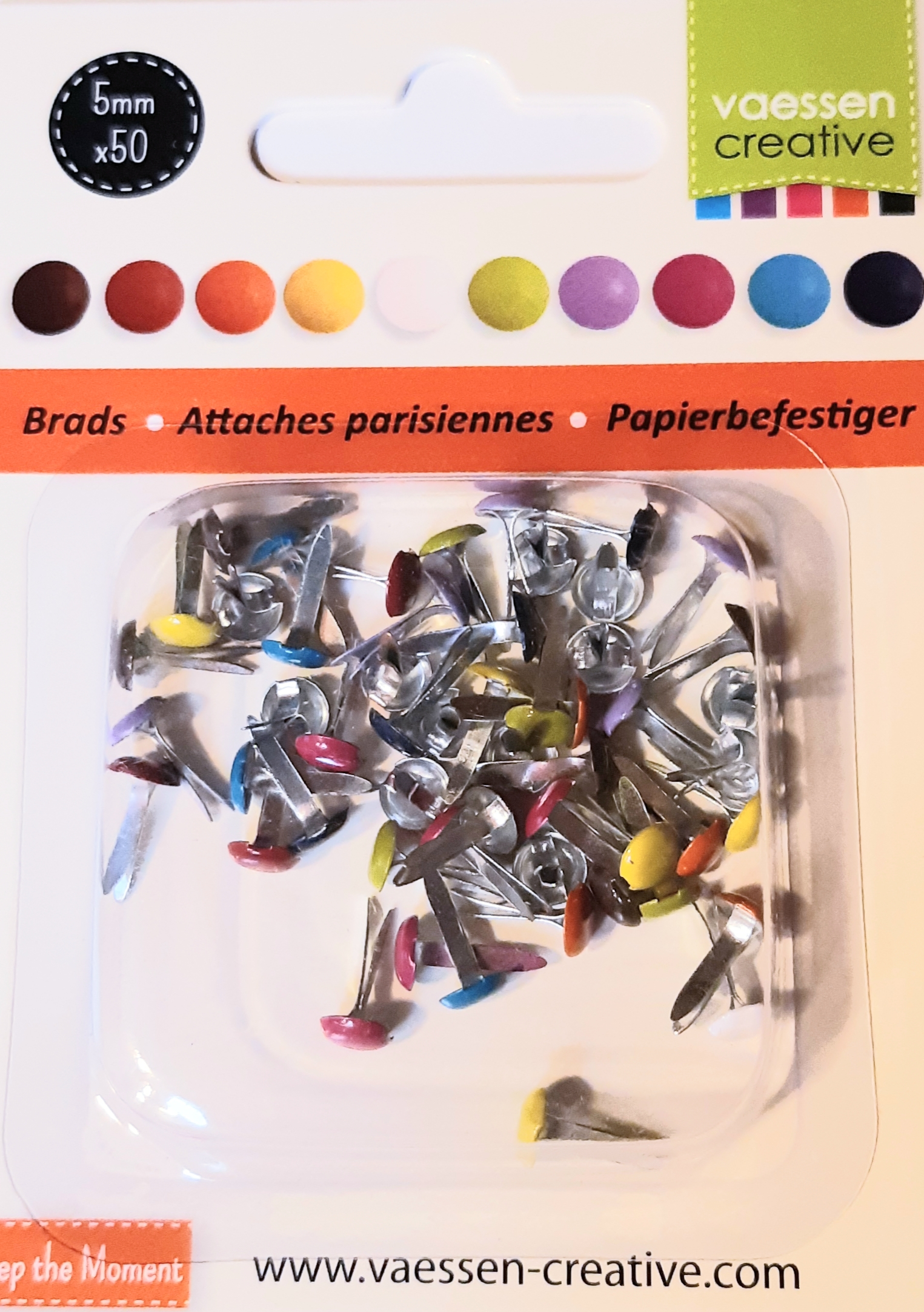 Lot de 50 attaches parisiennes couleurs assorties diamètre 5 mm