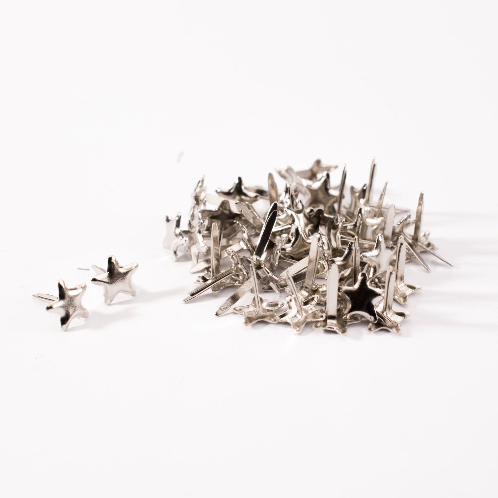 Lot de 50 attaches parisiennes format étoile argentées 6 mm