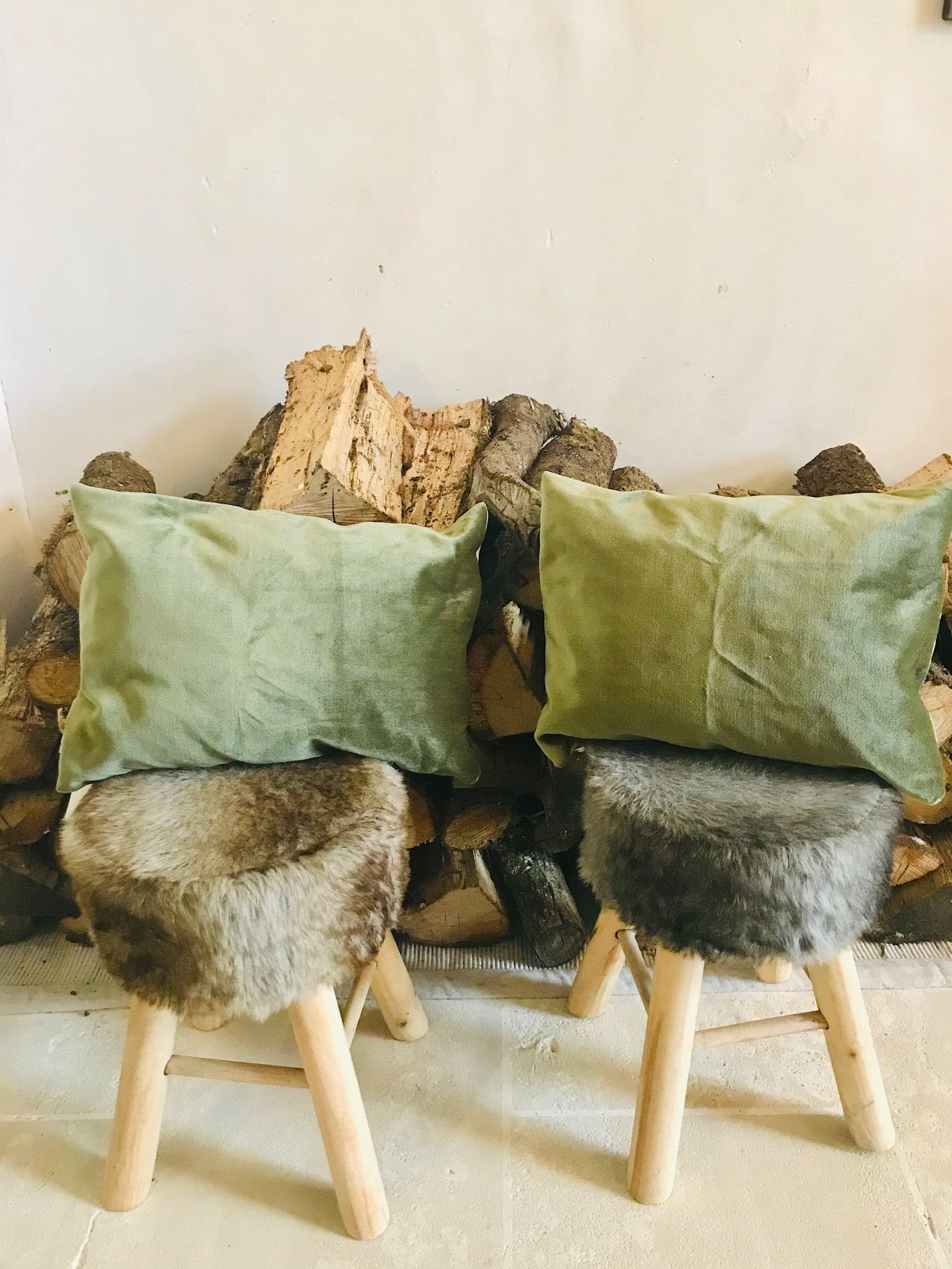 coussins velours vert contemporain fait main