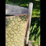 coussin fleuri vert coton fait main