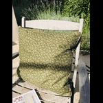 coussin vert fleuri coton fait main