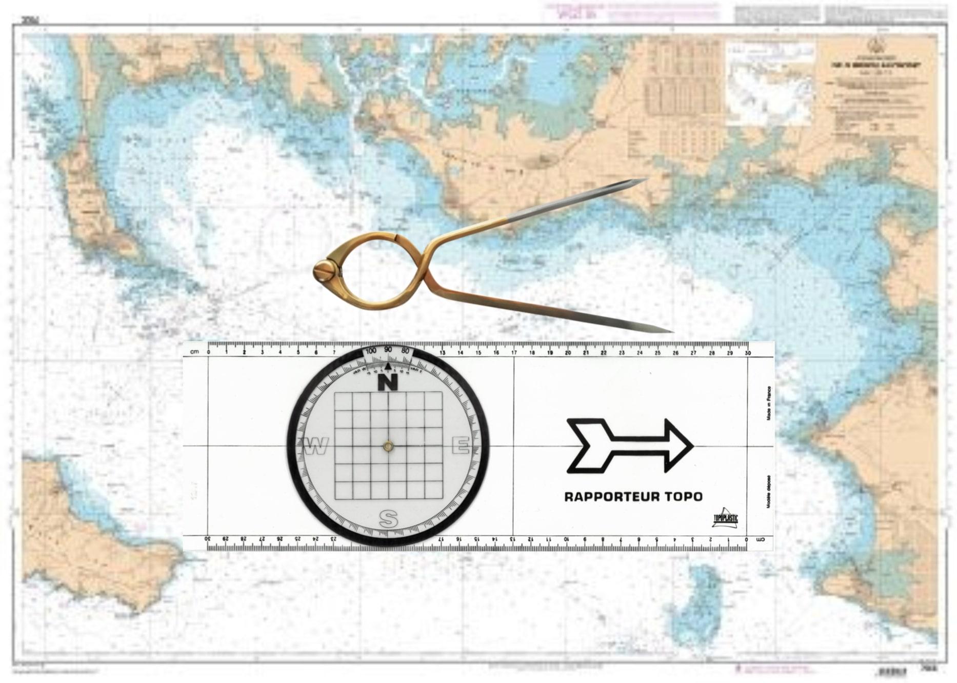 Kit matériel permis hauturier (règle rapporteur+compas lyre )