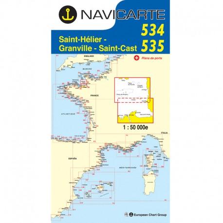 carte navicarte St Helier, Chausey, St Cast -534-535-carte-marine-pliee