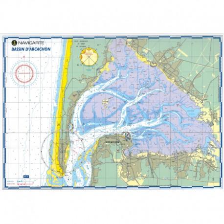 Carte marine plastifiée- Bassin d\'Arcachon
