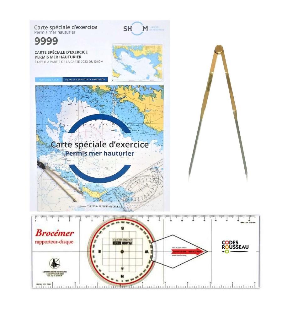 kit permis hauturier ( carte 9999 +rapporteur disque+compas à pointe sèche droit)