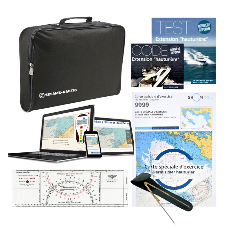 Pack Permis Hauturier-Amiral (carte+règle+compas+code+tests)