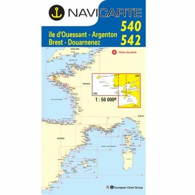 Carte marine  Navicarte 540+542 Douarnenez- Ile d'Ouessant