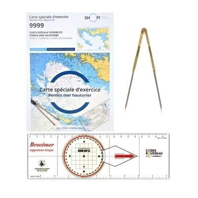 Pack permis hauturier( carte d'examen+règle rapporteur disque+compas à pointe sèche droit)