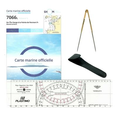 Pack Examen Maritime Pro(Carte7066L+Règle Cras+Compas)