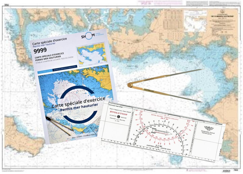 Pack Permis Hauturier-Réussite (carte+règle Cras+compas droit)
