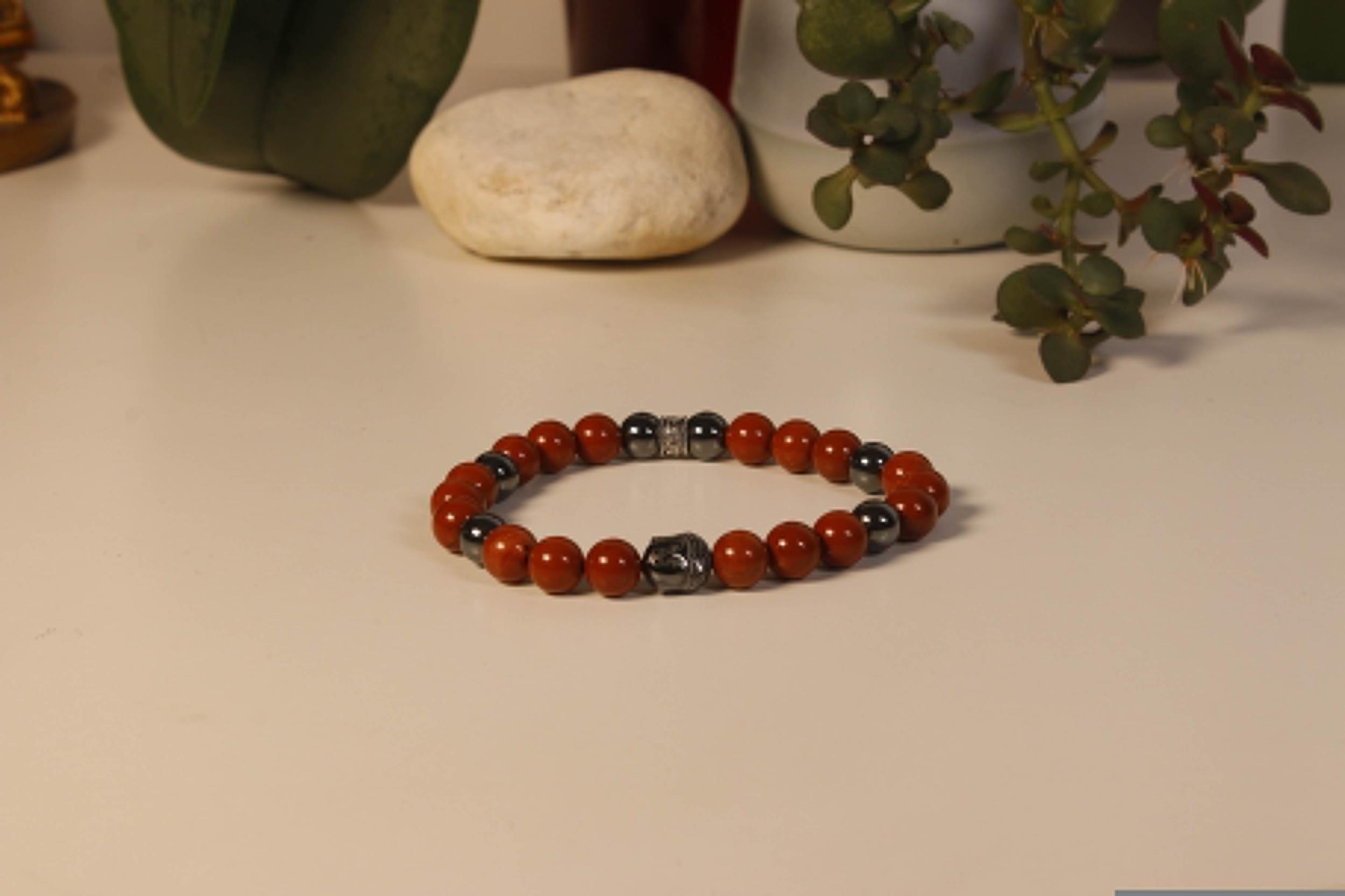 Bracelet Bouddha Jaspe Rouge 3 Hématite 1