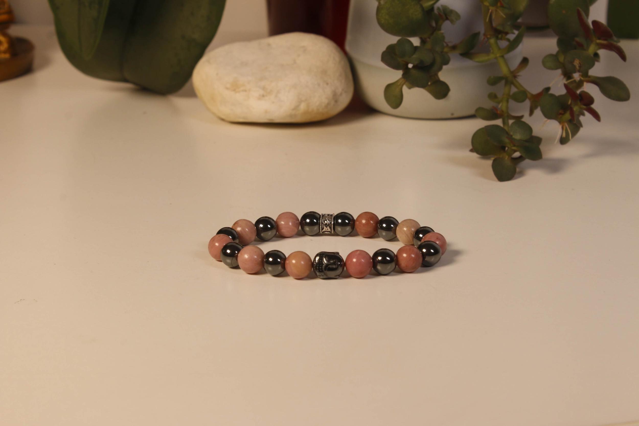 Bracelet Bouddha Rhodochrosite 1 Hématite 1