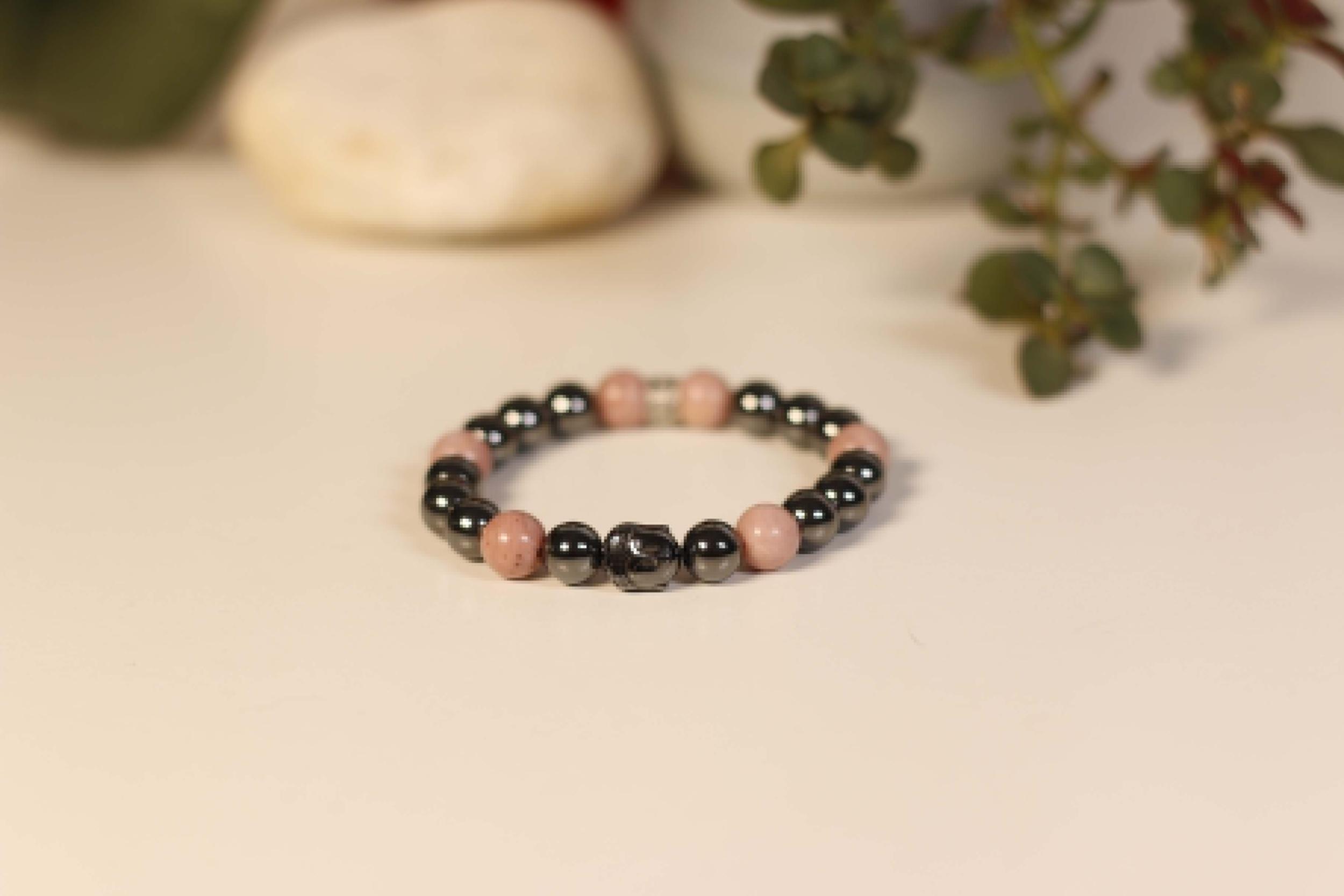Bracelet Bouddha Hématite Rhodochrosite 1