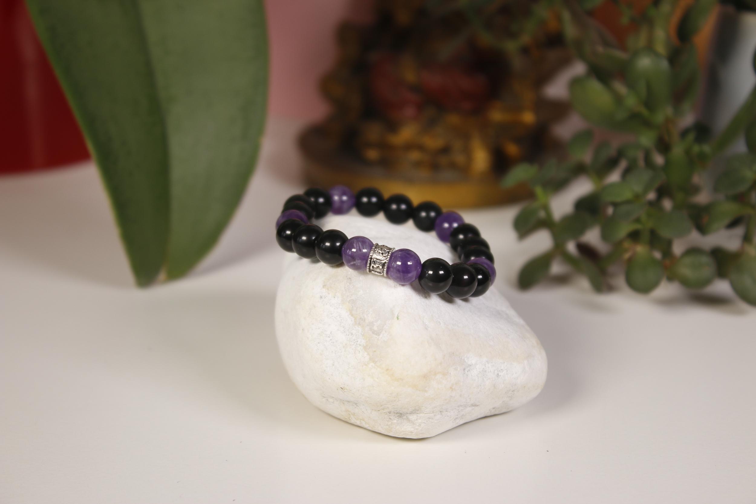 Bracelet Obsidienne Améthyste Karmantra